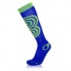 Eightsox Ski-Socke – Compression in blau/neon-grün